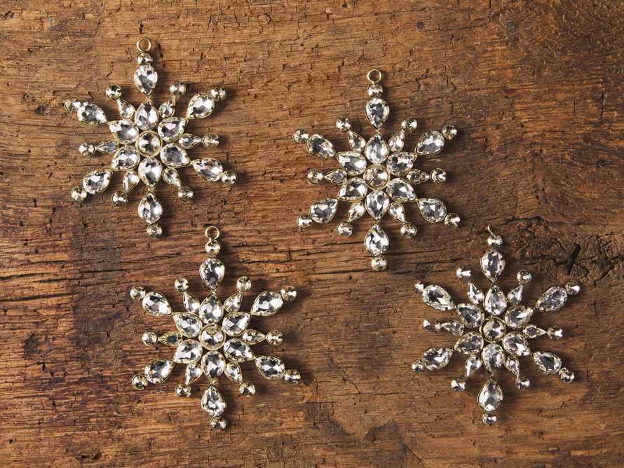 Medium Stellar Rhinestone Snowflake Ornaments (set of 4), slide 2 of 2