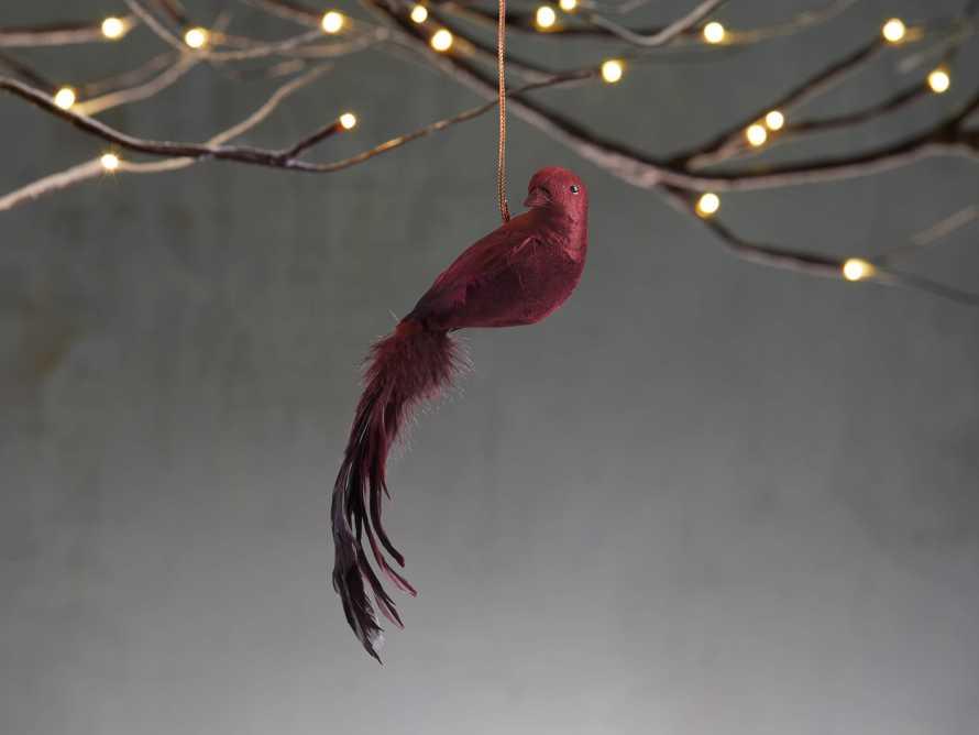 Burgundy Feathered Bird (Set of 4), slide 1 of 3