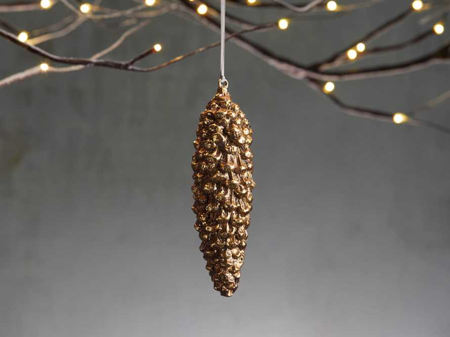 Gold Fir Pinecone Ornament (Set of 6), slide 1 of 2