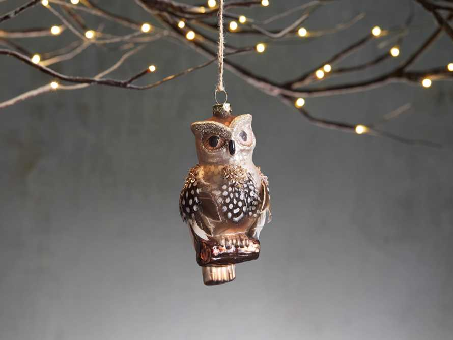 Glass Feathered Owl Ornament (Set of 6), slide 1 of 2