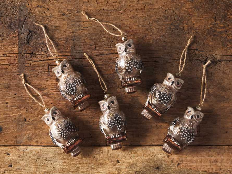 Glass Feathered Owl Ornament (Set of 6), slide 2 of 2