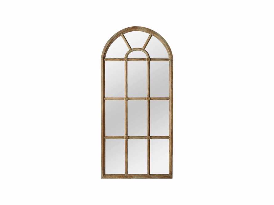 "36"" X 78"" TEAK ARCHED WINDOWPANE MIRROR"