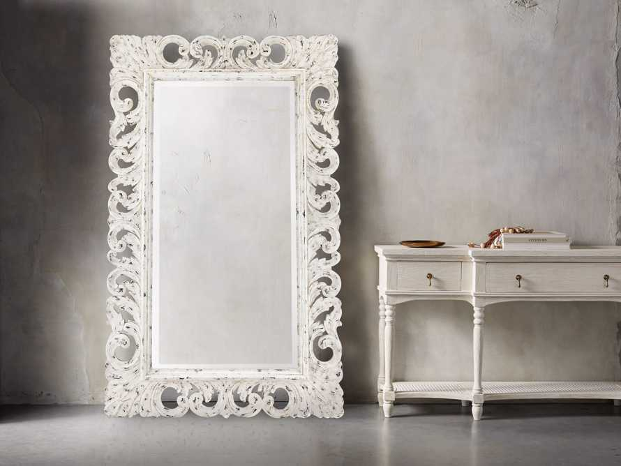 "PORTER 53"" X 84"" HAND CARVED MIRROR IN WHITE"