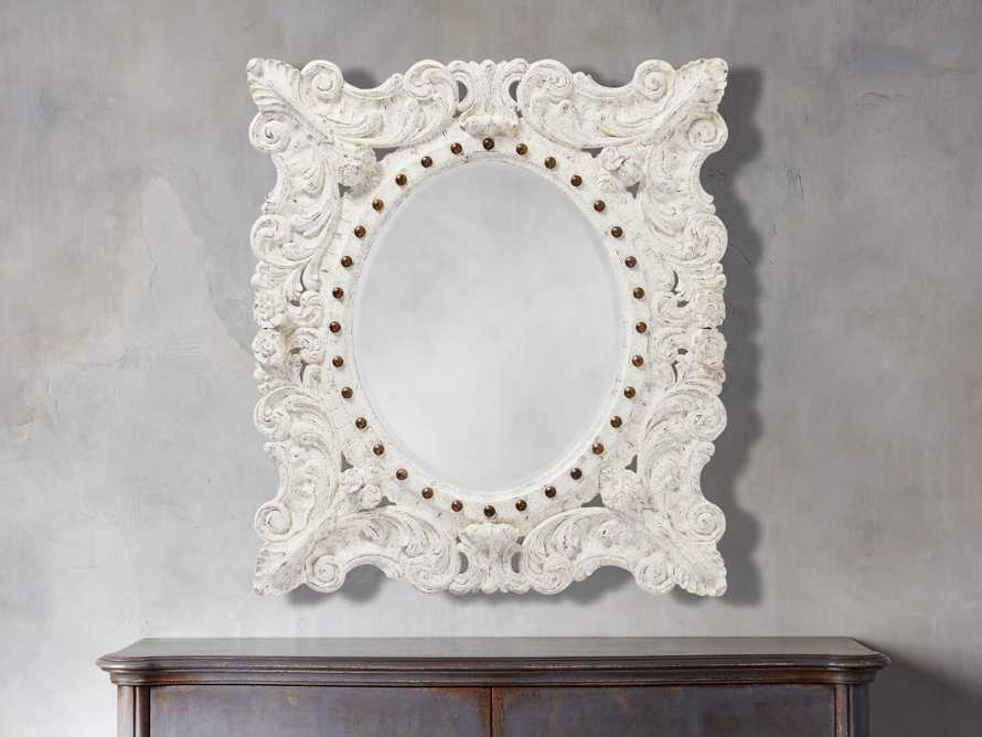 "MERLE 47"" X 53"" HAND CARVED SMALL MIRROR IN WHITE, slide 2 of 5"
