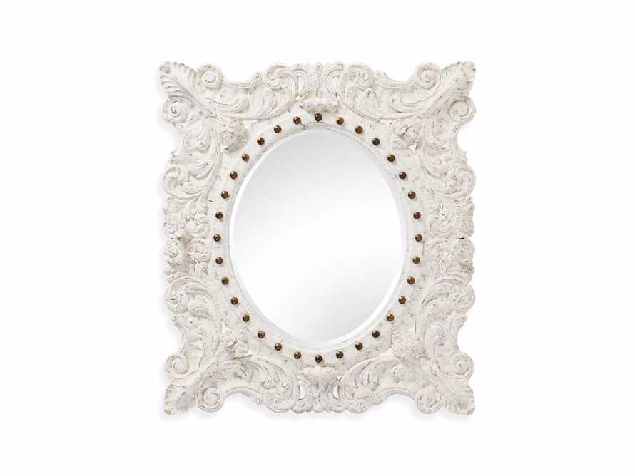 "MERLE 47"" X 53"" HAND CARVED SMALL MIRROR IN WHITE, slide 5 of 5"