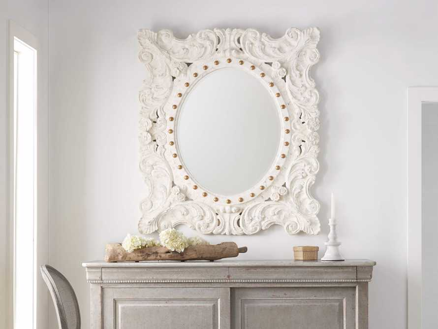 "MERLE 47"" X 53"" HAND CARVED SMALL MIRROR IN WHITE, slide 1 of 5"