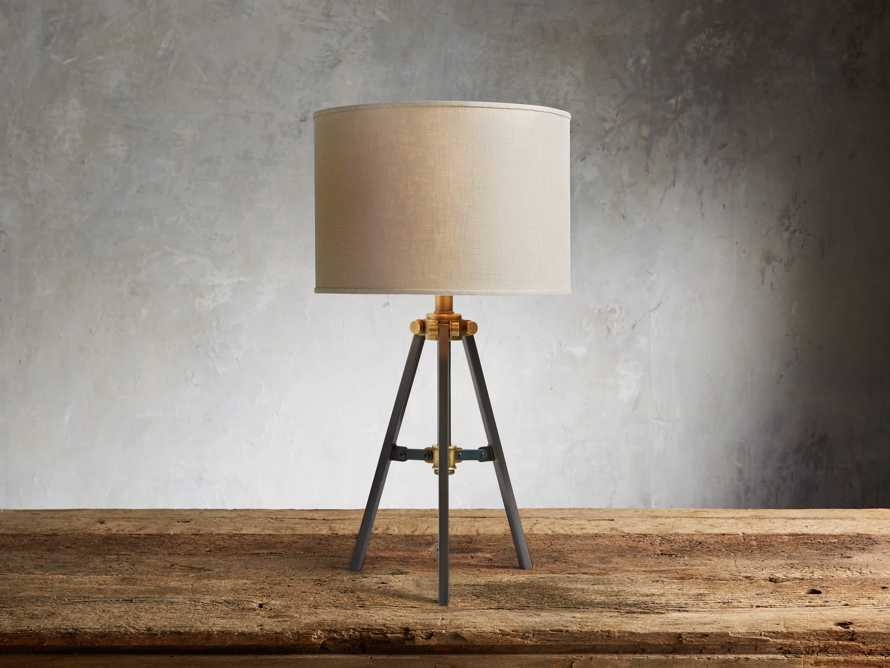 Clarence Table Lamp With Natural Shade in Bronze, slide 1 of 3