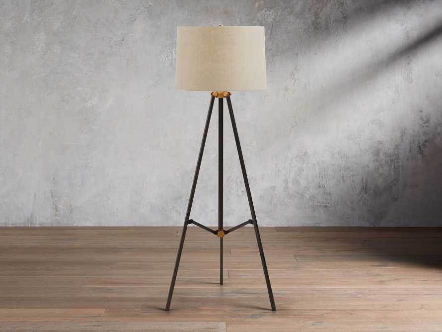 Clarence Floor Lamp With Natural Shade in Bronze, slide 1 of 8