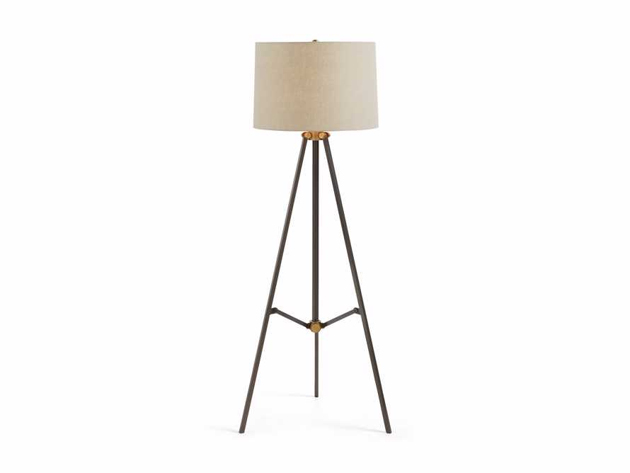 Clarence Floor Lamp With Natural Shade in Bronze, slide 3 of 8