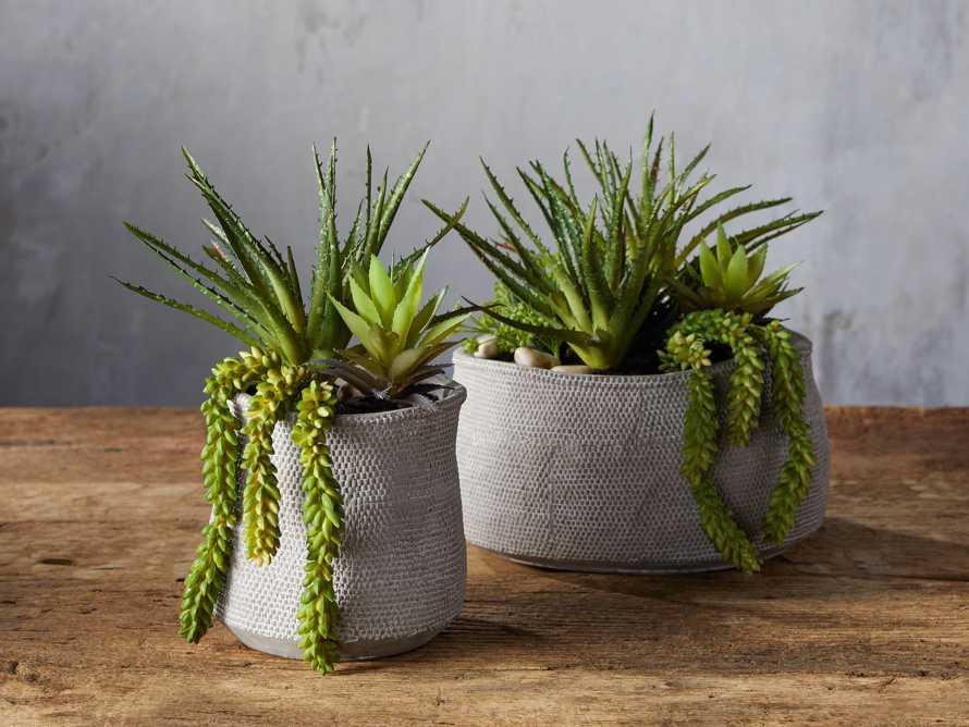 Basket-Texture Vase with Faux Botanicals, slide 2 of 2
