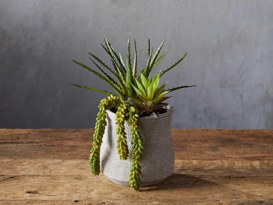 Basket-Texture Vase with Faux Botanicals, slide 1 of 2