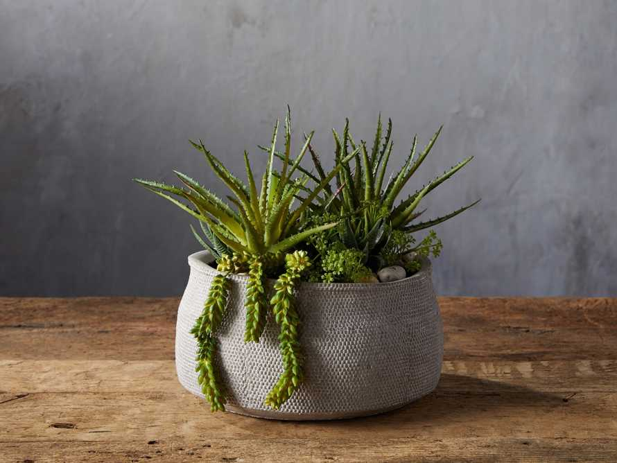 Basket-Texture Bowl with Faux Botanicals, slide 1 of 2