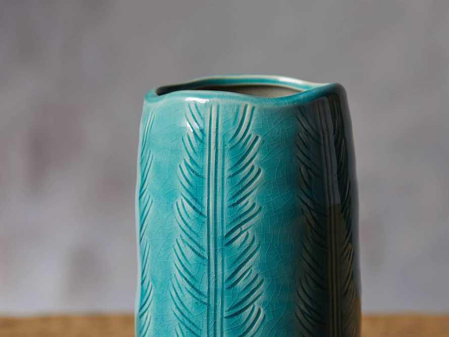 """Aqua 7.75"""" Feather Vase"""