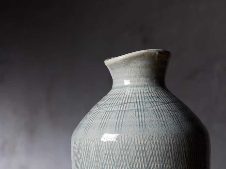 "Soft Blue 13"" Crosshatch Vase"