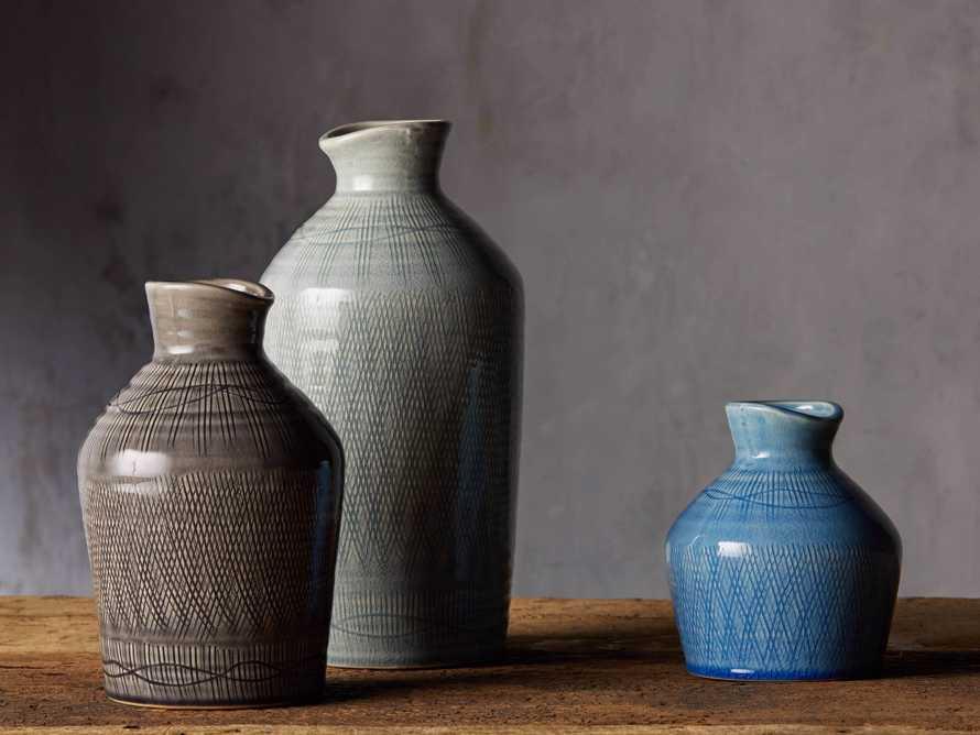 """Soft Blue 13"""" Crosshatch Vase, slide 4 of 5"""