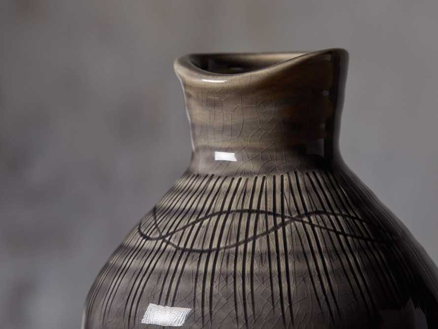 "Grey 10"" Crosshatch Vase, slide 2 of 4"