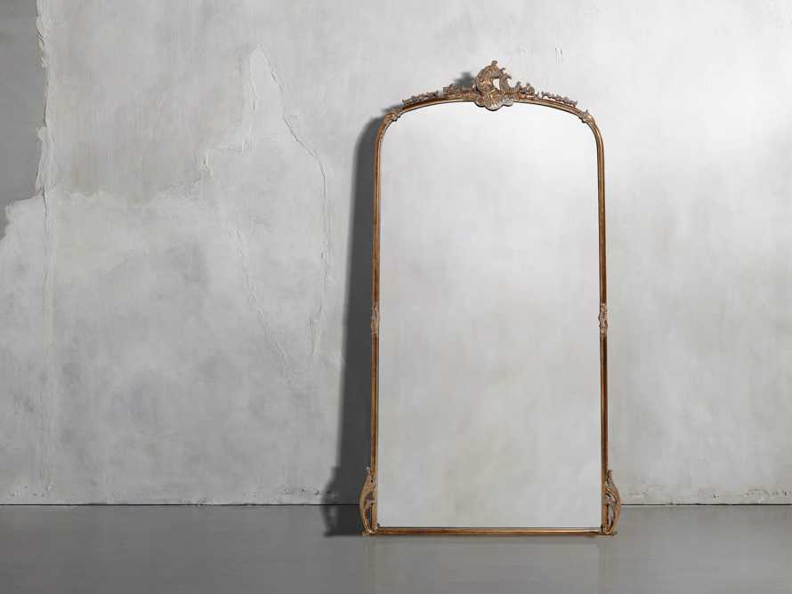 "Amelie 41"" Wooden Arched Floor Mirror in Golden Hue, slide 1 of 9"