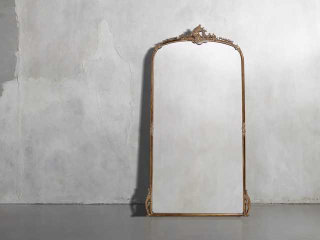 Amelie Floor Mirror In Gold Arhaus