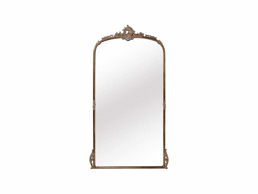 "Amelie 41"" Wooden Arched Floor Mirror in Golden Hue, slide 2 of 9"