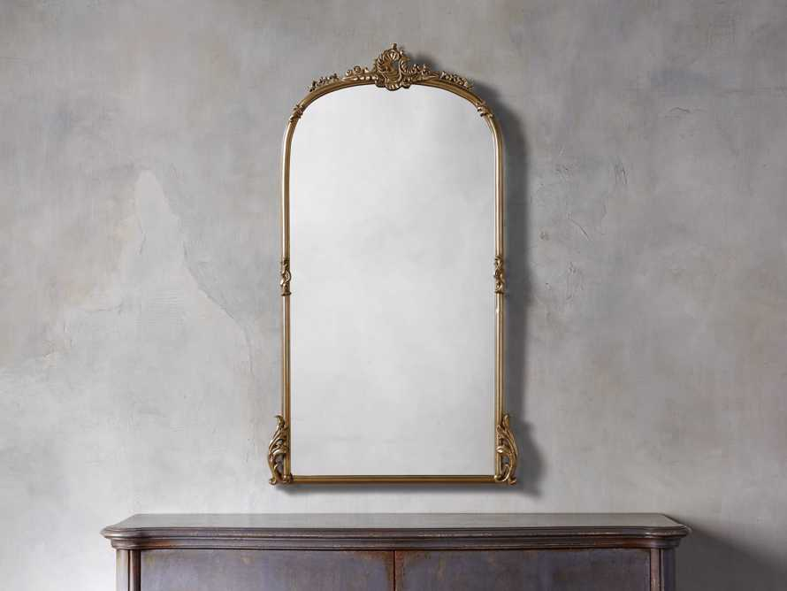 "Amelie 28"" Wooden Arched Wall Mirror in Gold Hue"