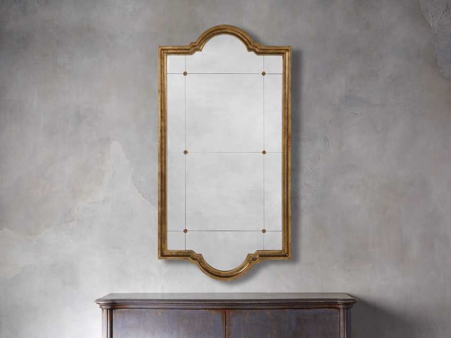 "AISLING 36"" X 69"" QUATREFOIL MIRROR IN ANTIQUE GOLD, slide 1 of 5"