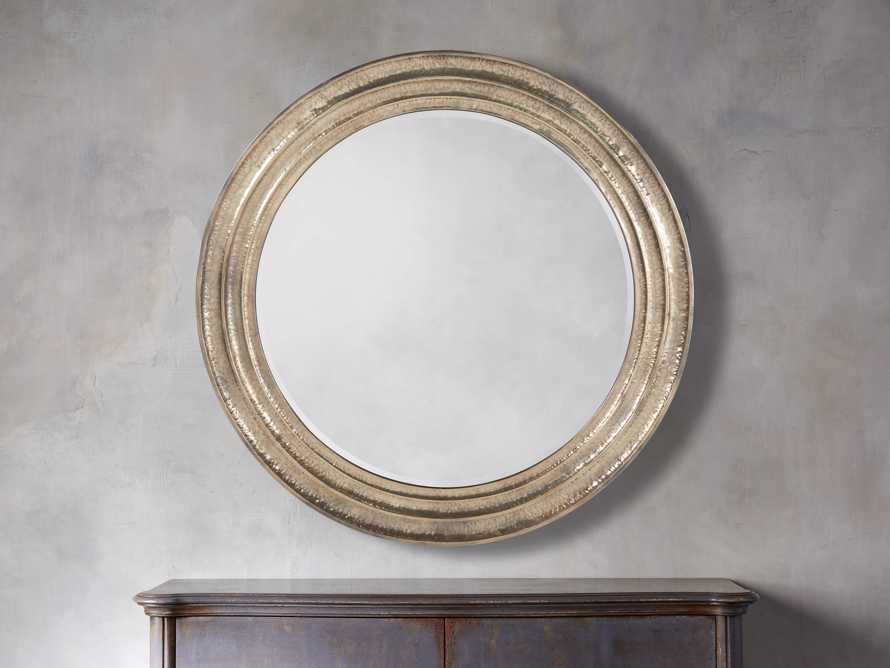 "Grand Stepped 67"" Mirror in Antique Silver"
