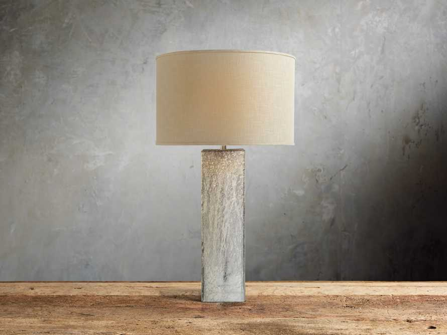Adrano Table Lamp in Silver With Natural Shade, slide 2 of 4