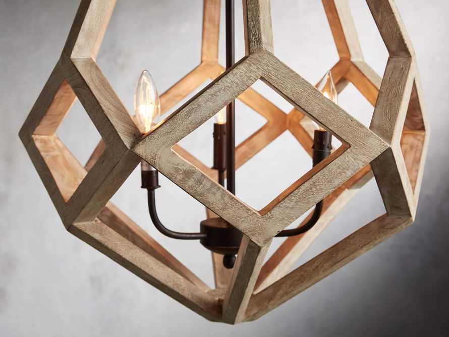 "Wooden Prism 22"" Chandelier With Wrought Iron Candelabra, slide 2 of 10"