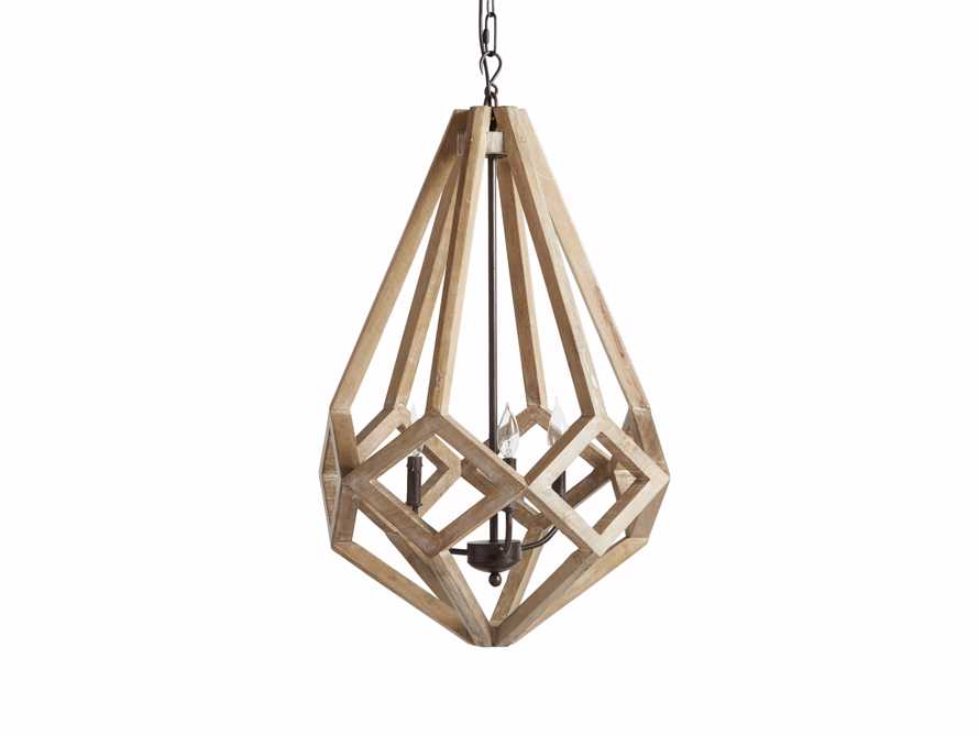 "Wooden Prism 22"" Chandelier With Wrought Iron Candelabra, slide 4 of 10"