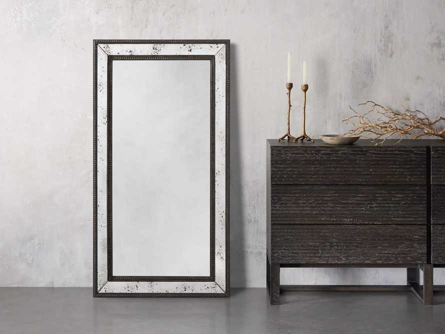 "SERANO 39"" X 72"" ANTIQUED FRAME MIRROR, slide 1 of 5"