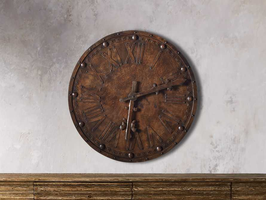"Antique 39"" Iron Wall Clock, slide 1 of 3"