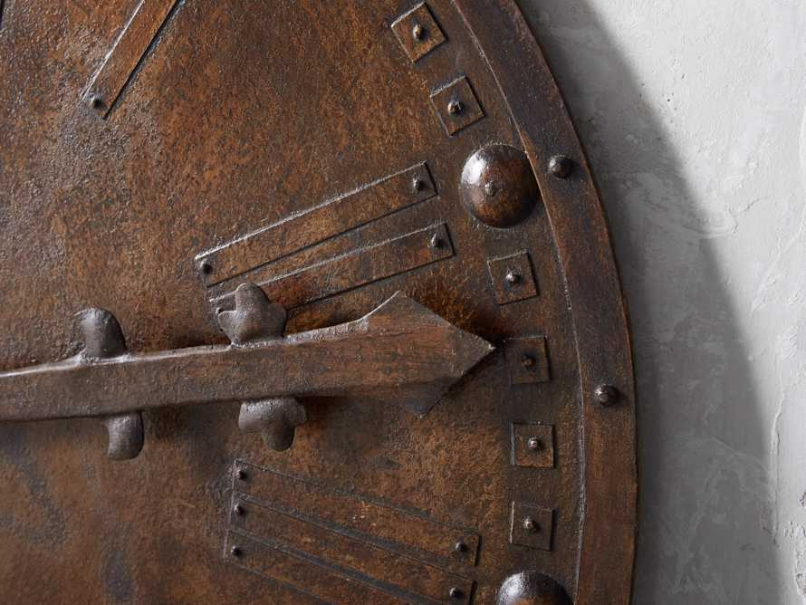 "Antique 39"" Iron Wall Clock, slide 2 of 3"