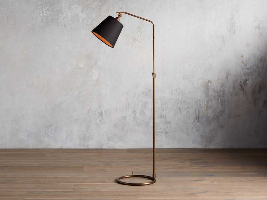 Kellen Floor Lamp With Black Shade in Antiqued Brass