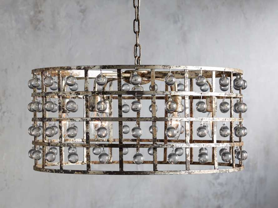 LA CAGE 5-LIGHT RECTANGULAR CHANDELIER IN SILVER CLAY, slide 1 of 5