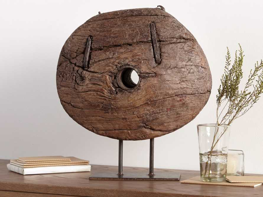 """20"""" Wooden Cart Wheel On Stand, slide 2 of 5"""