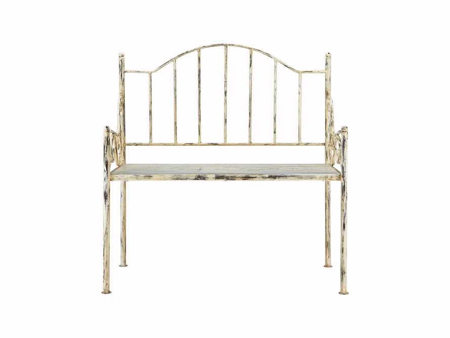"Iron 36"" Bench With Wood Seat In Distressed Cream"