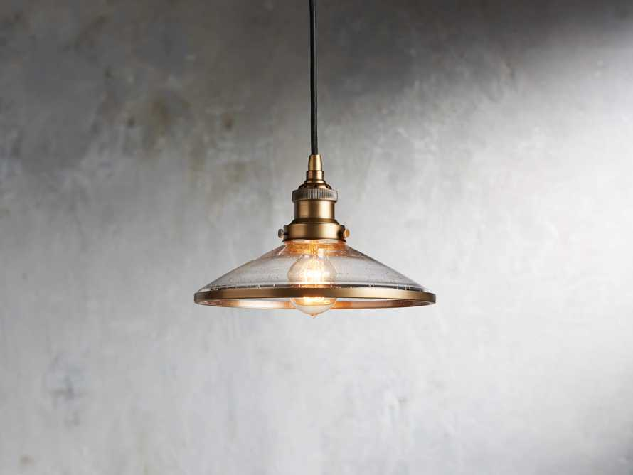 Industrial Flare Pendant in Antiqued Brass, slide 1 of 4