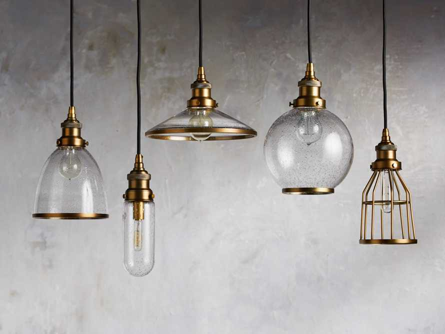 Industrial Cloche Pendant in Antiqued Brass, slide 4 of 7
