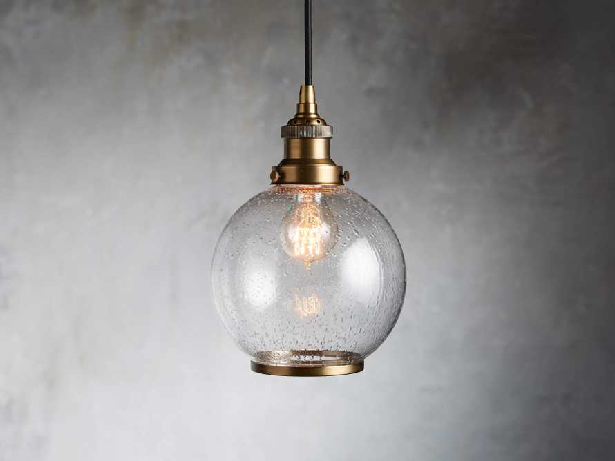 Industrial Globe Pendant in Antiqued Brass, slide 1 of 8