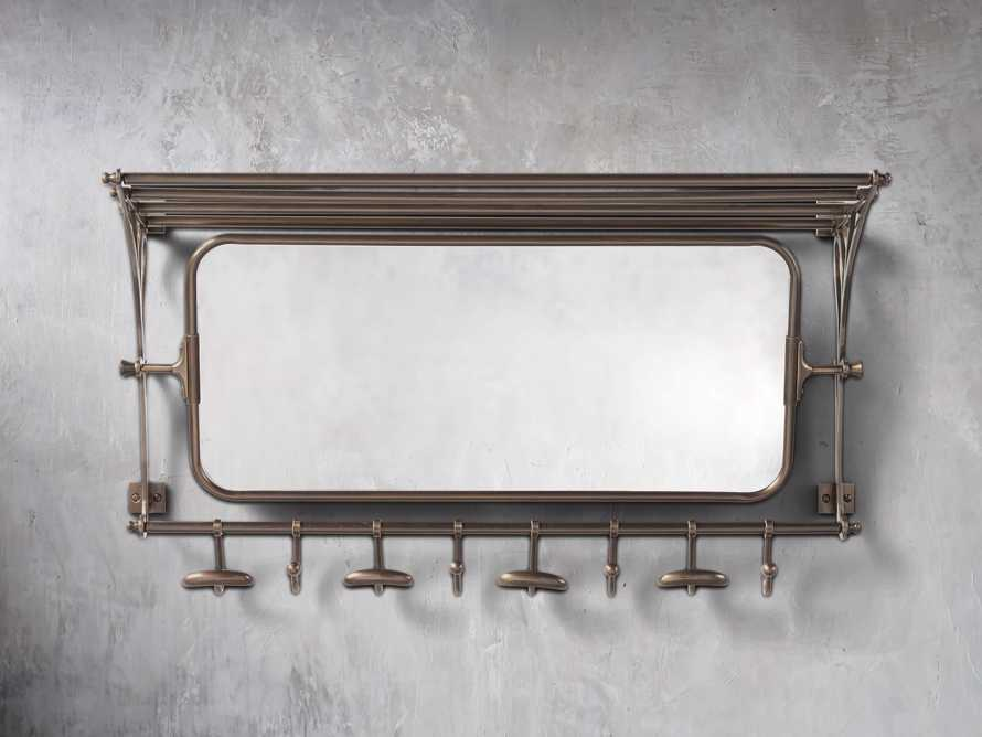 8 Hook Grand Chester Mirror in Brass, slide 1 of 4