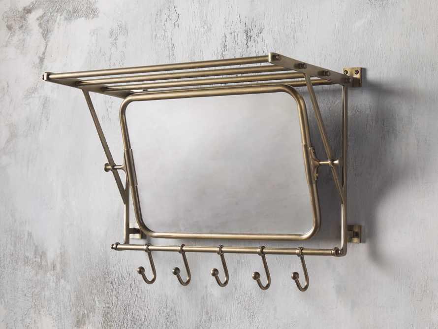5 Hook Grand Chester Mirror in Antique Brass, slide 1 of 2