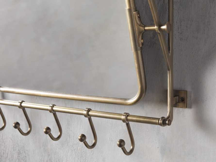 5 Hook Grand Chester Mirror in Antique Brass, slide 2 of 2