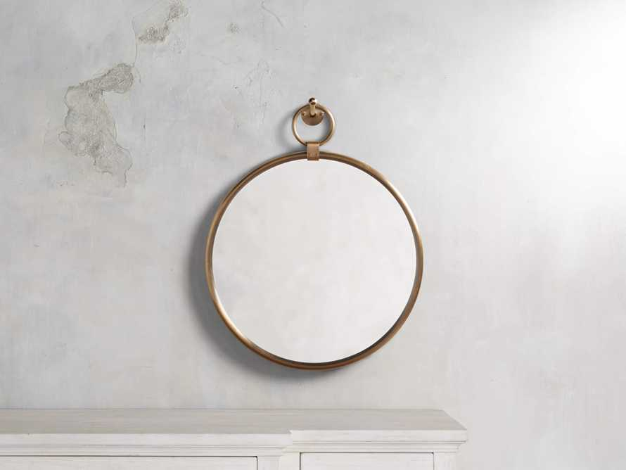 "Thomas 18"" Brass Round Mirror With Hook, slide 1 of 3"