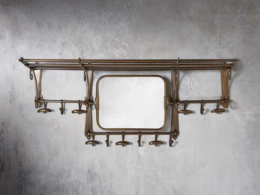 "Grand Chester 41"" x 18"" Hook Mirror in Antique Brass"