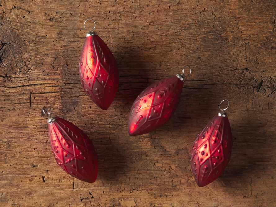 Ditsy Floral Ornament in Red (Set of 4), slide 2 of 3