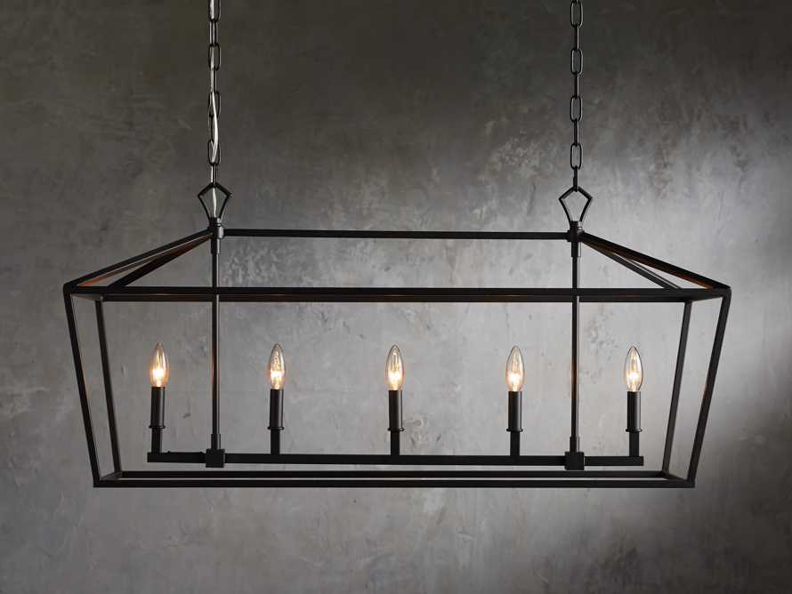Hemisphere Garnet Rectangular Chandelier In Antique Bronze