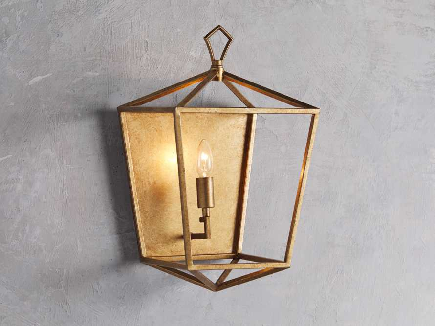Hemisphere Garnet Wall Sconce in Brass, slide 1 of 7
