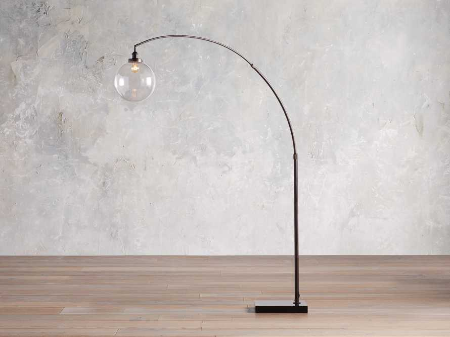 ARC FLOOR LAMP WITH GLASS SHADE IN BRONZE, slide 1 of 6