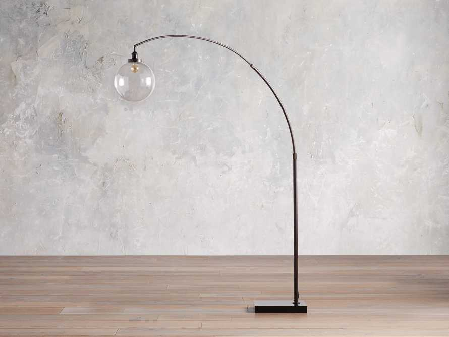 ARC FLOOR LAMP WITH GLASS SHADE IN BRONZE, slide 2 of 6