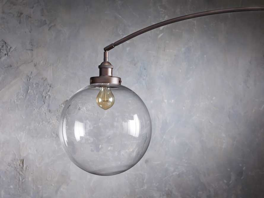 ARC FLOOR LAMP WITH GLASS SHADE IN BRONZE, slide 4 of 6